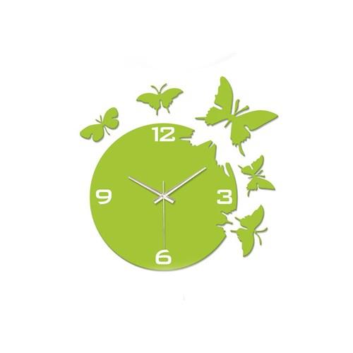 Time Gold Kelebek Duvar Saati Yeşil