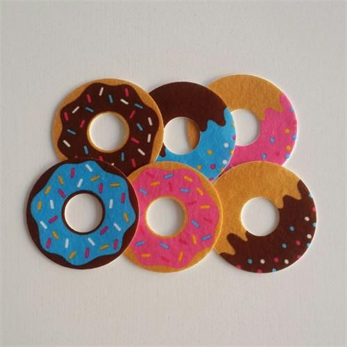 Desenli Keçeler Ütüyle Yapışabilen Donut Desenli Keçe Aplike