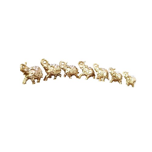 Gold Dekor İnci Taşlı 7 Li Fil Altın Renk.