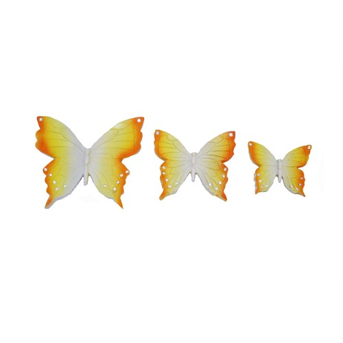 Gold Dekor Kelebek Duvar Dekoru 3 Lü Sarı
