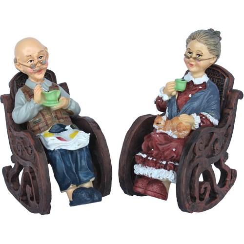 Gold Dekor Sevimli Yaşlılar Salıncaklı Sandalyede 2 Li