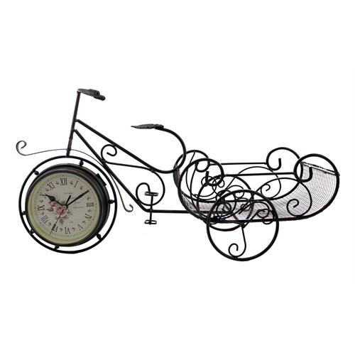 Gold Dekor Kamer Geniş Sepetli Bisiklet Saat Siyah