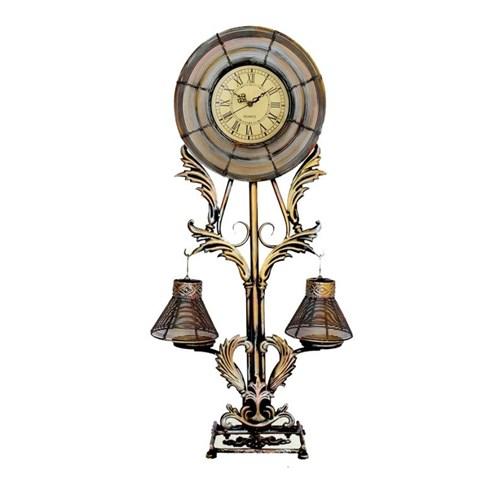 Gold Dekor Ayaklı Saat Mumluk