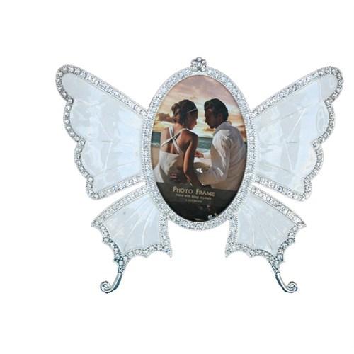 Gold Dekor Kelebek Resimlik Gümüş Renk
