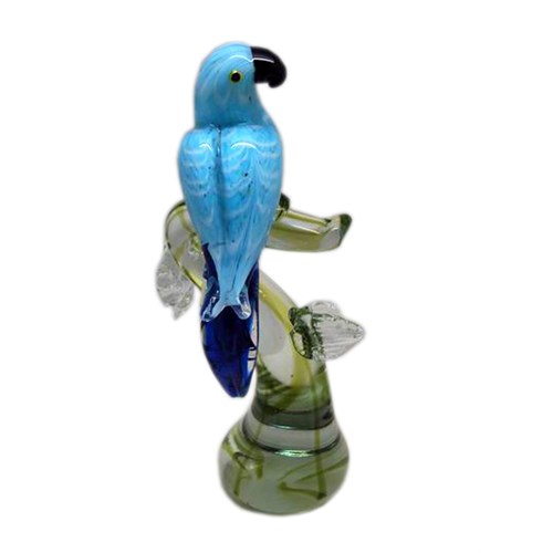 Lucky Art Mavi Papağan Cam Biblo 28 Cm