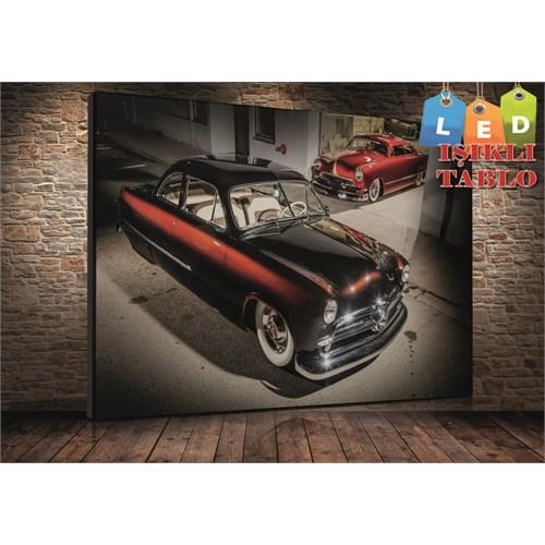 Tablo İstanbul Garajda Clasic Araba Led Işıklı Kanvas Tablo 45*65 Cm