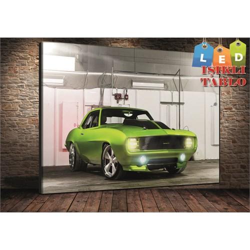 Tablo İstanbul Mustang Yeşil Led Işıklı Kanvas Tablo 45*65 Cm