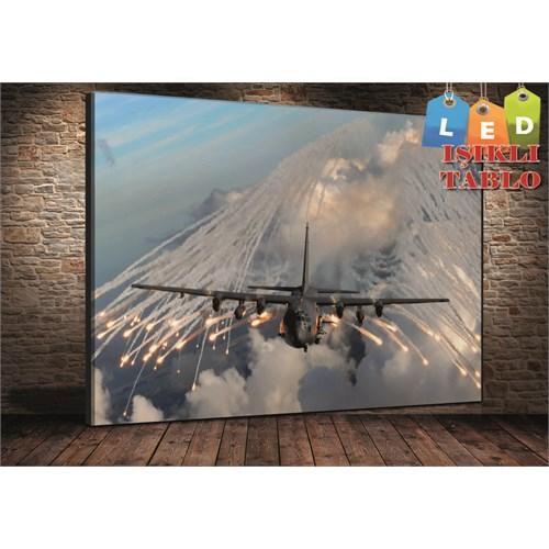 Tablo İstanbul Uçak Ateş Led Işıklı Kanvas Tablo 45*65 Cm
