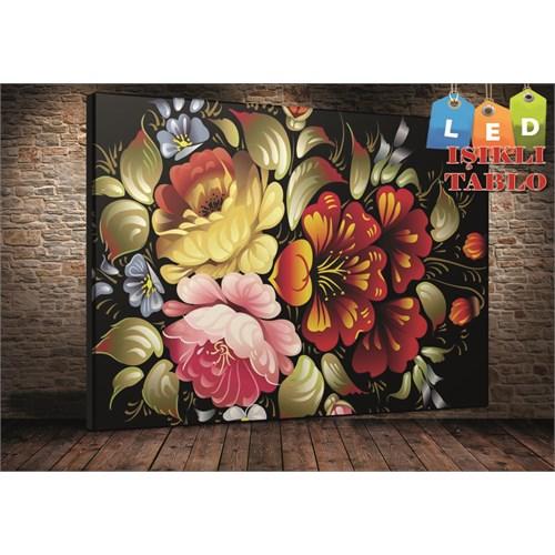 Tablo İstanbul Çiçek Karma Led Işıklı Canvas Tablo