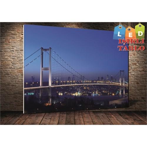 Tablo İstanbul İstanbul Mavi Boğaz Köprü Led Işıklı Kanvas Tablo