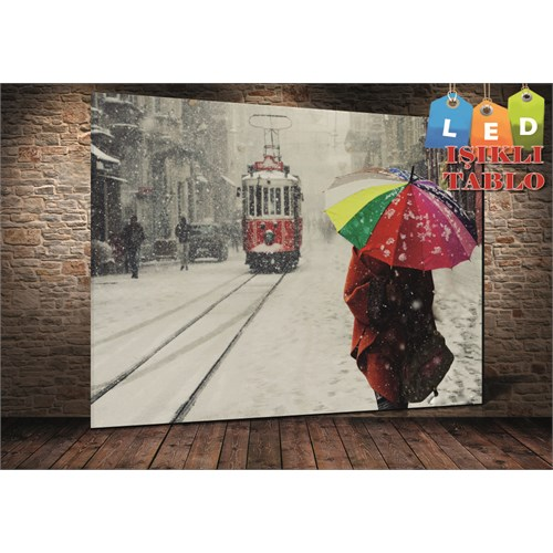 Tablo İstanbul İstanbul Taksim Ve Umbrella Led Işıklı Canvas Tablo