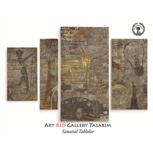 Artred Gallery 4 Parça Soyut Kanvas Tablo119X80