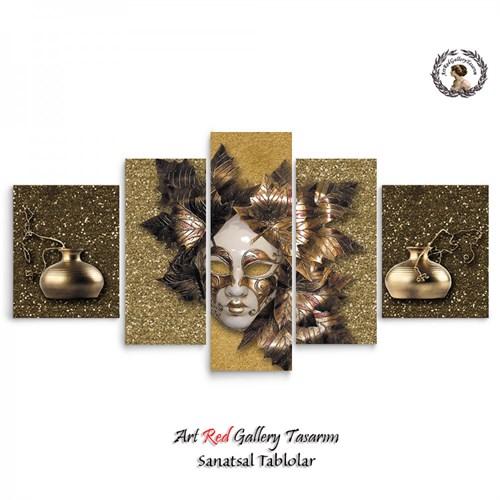 Artred Gallery 5 Parçalı Maske Kanvas Tablo