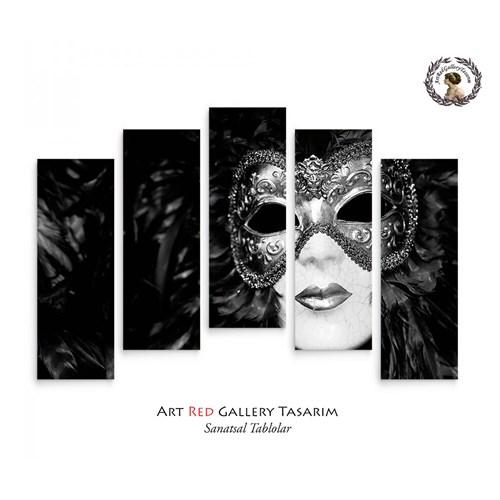 Artred Gallery 5 Parçalı Siyah Maske Kanvas Tablo72X110
