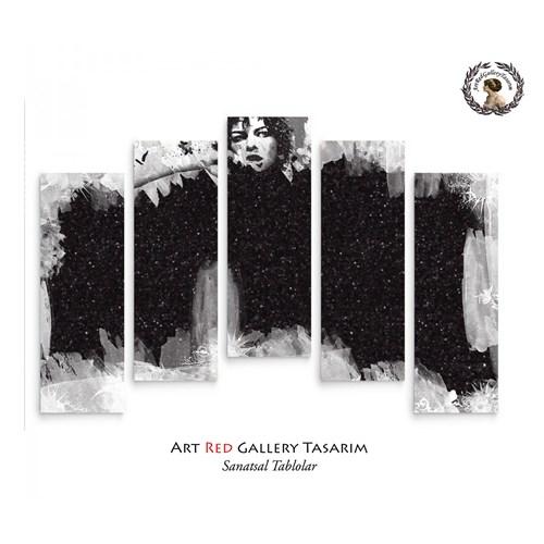 Artred Gallery 5 Parçalı Siyah Simli Kanvas Tablo72X110