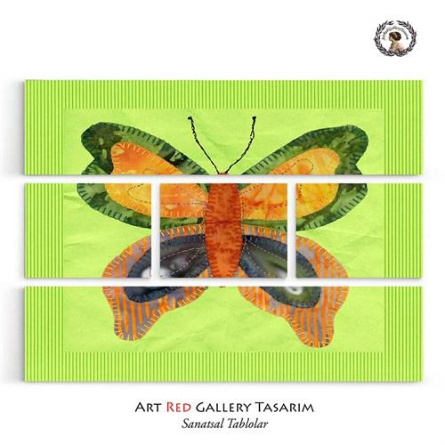 Artred Gallery Beş Parça Yeşil Kumaş Kelebek 126X95Kanvas Tablo-3