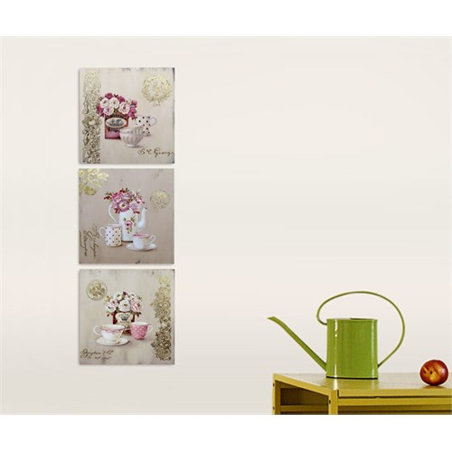 Artred Gallery Üç Parça Altın Pembe Kanvas 50X155 Tablo