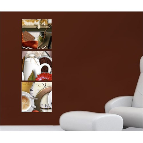 Artred Gallery Üç Parça Saat Ve Kedi Kanvas 50X155 Tablo