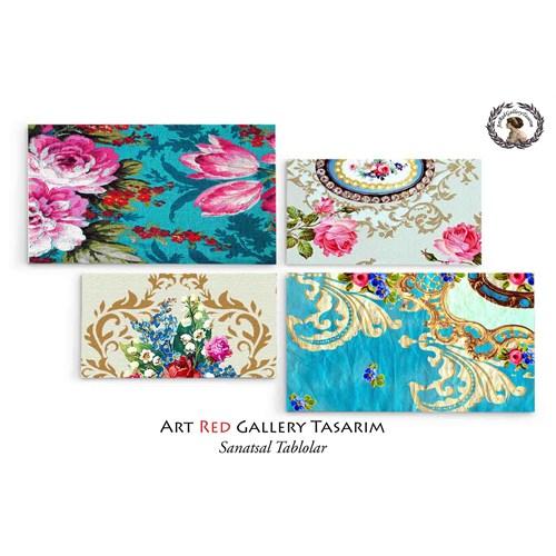 Artred Gallery 4 Parçalı Mavi Kağıtlar Tablo128X73