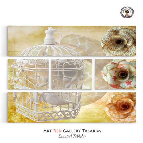Artred Gallery Beş Parça Beyaz Kafes Tablo126X95