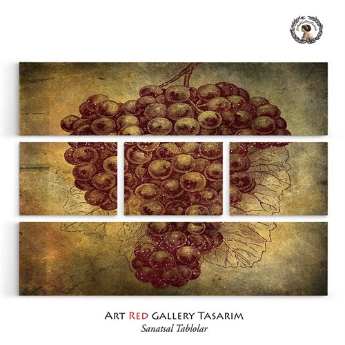 Artred Gallery Beş Parça Kırmızı Simli Üzüm Tablo126X95