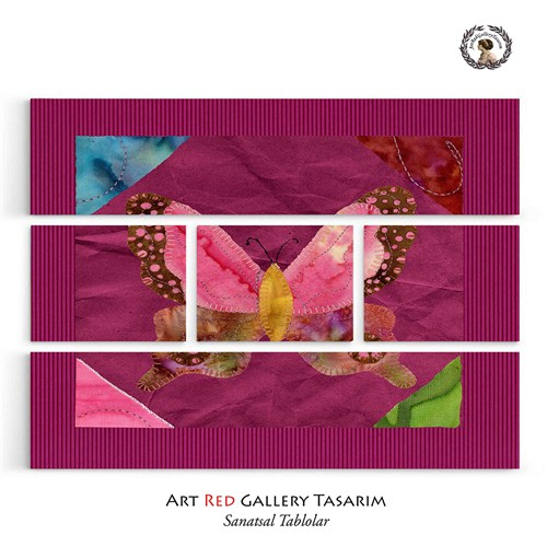 Artred Gallery Beş Parça Pembe Kumaş 126X95 Tablo-2