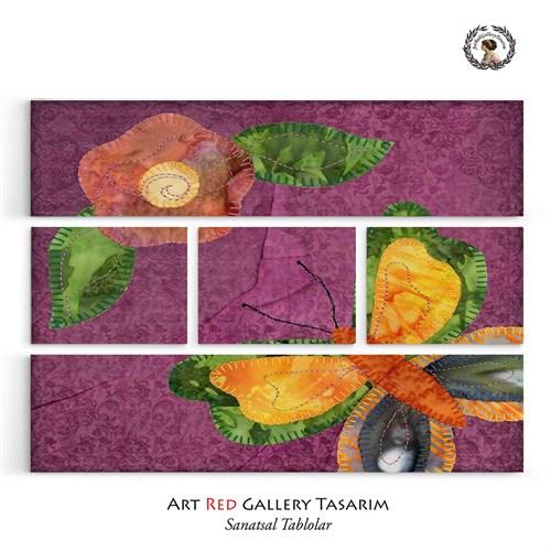Artred Gallery Beş Parça Pembe Kumaş Tablo126X95