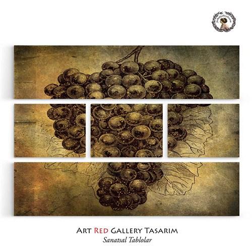 Artred Gallery Beş Parça Simli Üzüm Tablo126X95