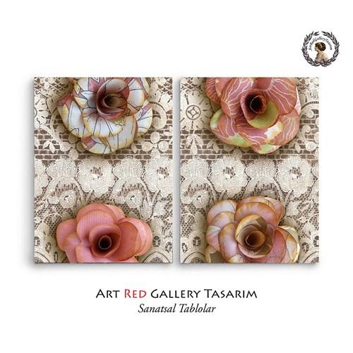 Artred Gallery Dantel Ve Çiçekler İki Parça 83X55 Tablo