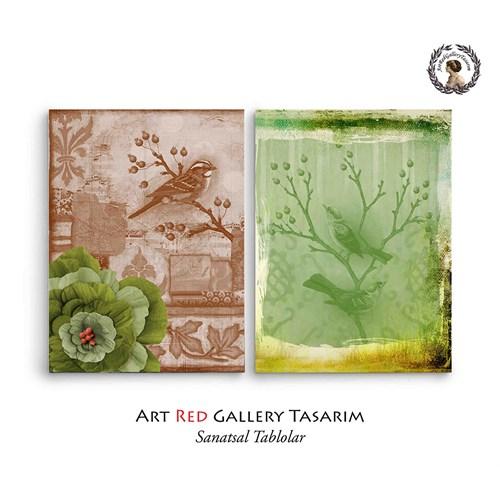 Artred Gallery Dekubaj Kuşlar İki Parça 83X55 Tablo-2