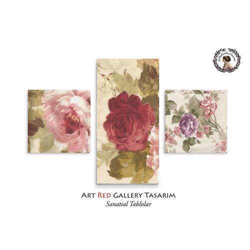 Artred Gallery Gül Desenli Kumaşlar Üç Parça 80X50 Tablo