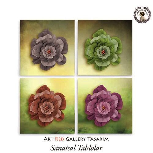 Artred Gallery Kağıt Çiçekler Dört Parça 83X83 Tablo