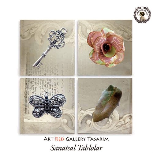 Artred Gallery Kağıt Gül Ve Anahtar Dört Parça 83X83 Tablo