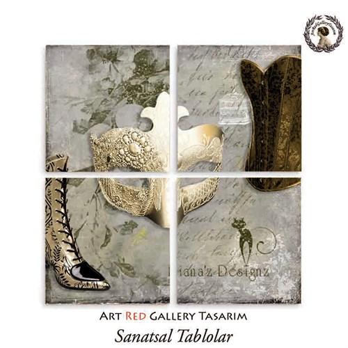 Artred Gallery Lady Maske Dört Parça 83X83 Tablo