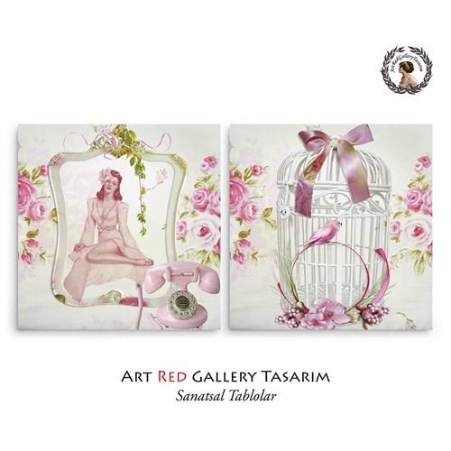 Artred Gallery Lady Ve Sweet Home İki Parça 83X55 Tablo