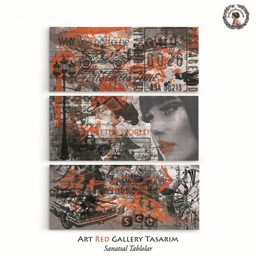 Artred Gallery Red Vintage Üç Parça 70X95 Tablo