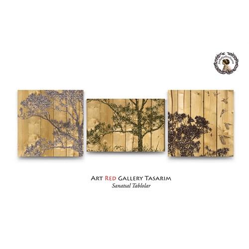 Artred Gallery Simli Ağaçlar Üç Parça Tablolar