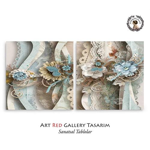 Artred Gallery Valentina Kağıtlar İki Parça 83X55Tablo