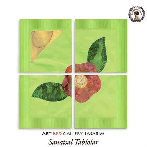 Artred Gallery Yeşil Kumaş Çiçek Dört Parça 83X83 Tablo