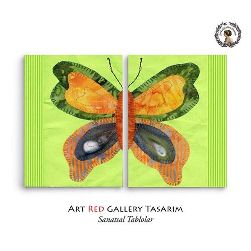 Artred Gallery Yeşil Ve Kumaş Kelebek İki Parça 83X55 Tablo