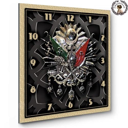 Artred Gallery 35X35 Ahşap Kare Osmanlı Arması Saat