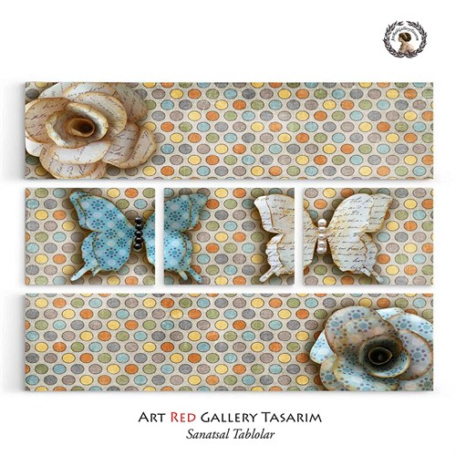 Artred Gallery Beş Parça Sevimli Kağıt Kelebekler126X95