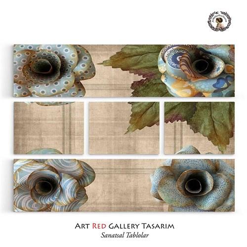 Artred Gallery Beş Parça Sevimli Mavi Kağıt Çiçekler 126x95