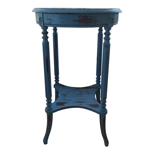 Woodenbend Legend Eskitilmiş Mavi Sehpa