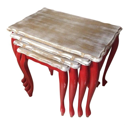 Woodenbend Giselle Kırmızı Eskitme Sehpa Takımı