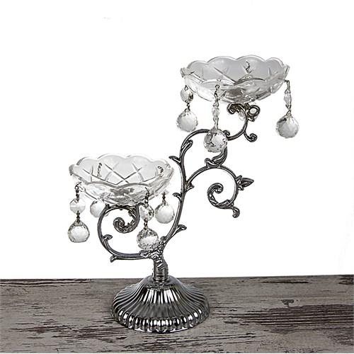 Mukko Home 2'Li Gümüş Kristal Şamdan