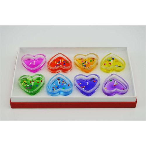 Cosiness Kutulu Renkli Kalp Şekilli Jel Mum 6 Lı