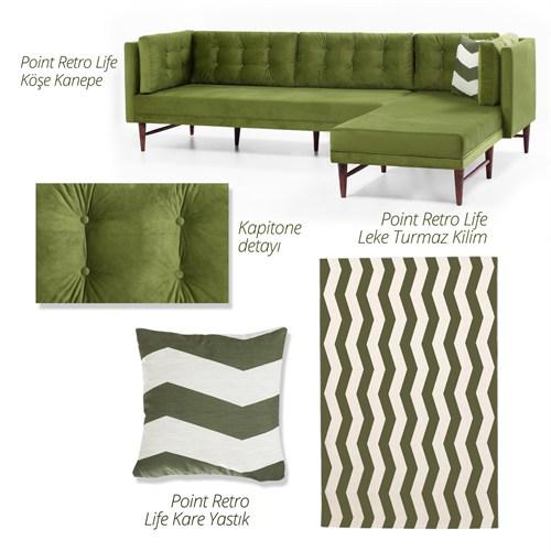 Evdebiz Point Retro Life Yeşil Köşe Kanepe+Kilim Sağ
