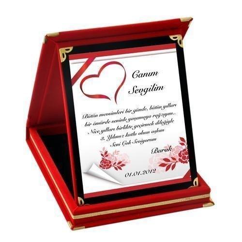 Sevgiliye Özel Mesajlı Aşk Plaketi