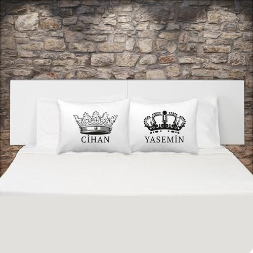İsme Özel Kral Ve Kraliçe Çift Yastık